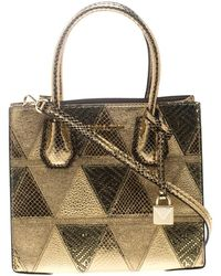 Michael Kors Gold Embossed Leather Patch Mercer Tote - Metallic