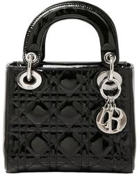 Dior Black Cannage Quilted Patent Leather Mini Lady Tote