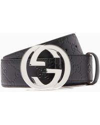 Gucci Black Leather Signature GG Belt
