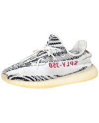 Yeezy White/black Cotton Knit Boost 350 V2 Zebra Trainers Size 44