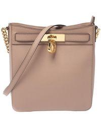 Michael Kors Pale Pink Leather Medium Hamilton Messenger Bag - Purple