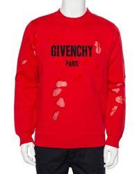 Givenchy Red Cotton Logo Printed Distressed Crewneck Sweatshirt