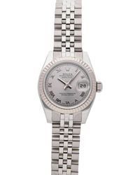 Rolex Silver 18k White Gold And Stainless Steel Datejust 179174 Wristwatch 26 Mm - Metallic