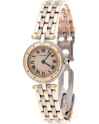 Cartier Beige 18k Yellow Gold Stainless Steel Panthère Vendôme 166920 Women's Wristwatch 24 Mm - Metallic