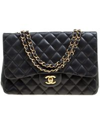 Chanel - Black Quilted Leather Jumbo Classic Single Flap Bag - Lyst