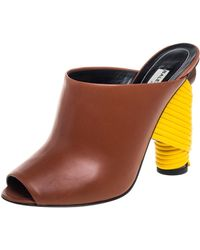 Balenciaga - Brown Leather Wrapped Heel Slide Sandals - Lyst