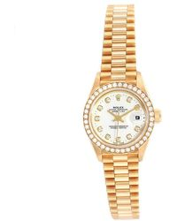 Rolex White Diamonds 18k Yellow Gold President Datejust 69138 Women's Wristwatch 26 Mm