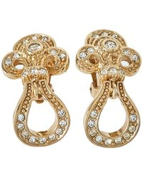 Dior Vintage Crystal Studded Gold Tone Dangle Clip-on Earrings - Metallic