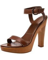 Sergio Rossi Brown Leather Wooden Platform And Heel Ankle Strap Sandals