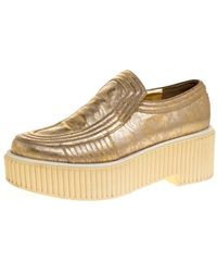 Chanel Gold Leather Creepers Slip On Platform Trainers - Metallic