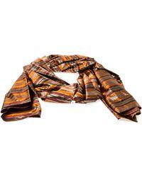 Céline Multicolour Metallic Striped Silk Scarf