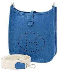 Hermès Blue Clemence Leather Evelyn Tpm Bag