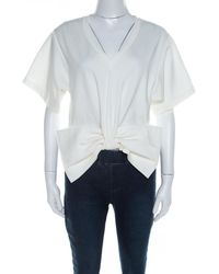 Moschino Couture White Bow Detail Short Sleeve Crop Top