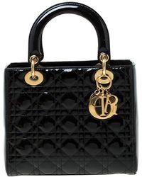 Dior Lady Black Patent Leather Handbag