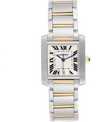 Cartier White 18k Yellow Gold And Stainless Steel Tank Francaise W51005q4 Men's Wriswatch28x32 Mm