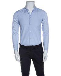 Dior Blue Cotton Contrast Mandarin Collar Button Front Shirt
