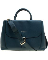 Burberry - Dark Teal Leather Large Saddle Tote - Lyst
