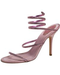 Rene Caovilla Pink Satin Crystal Embellished Ankle Wrap Open Toe Sandals