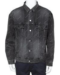 Balenciaga Grey Logo Printed Denim Distressed Collar Detail Jacket