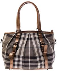 Burberry Grey/brown Smoke Check Canvas And Leather Northfield Tote - Gray