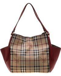 cab199260355 Burberry - Beige military Red Haymarket Check Pvc Small Canterbury Tote -  Lyst