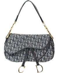 Dior - Logo Denim Double Saddle Bag - Lyst