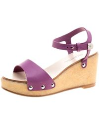 5d32e9be0dee Chanel - Purple Leather Ankle Strap Platform Wedge Sandals Size 39 - Lyst