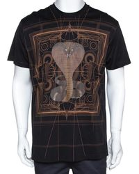 Givenchy Black Cotton Cobra Print Round Neck T Shirt