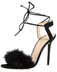 Charlotte Olympia Black Suede And Feather Embellished Salsa Sandals