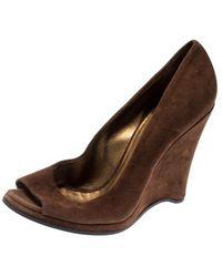 Miu Miu Brown Suede Peep Toe Wedges Court Shoes