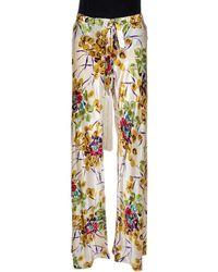 Roberto Cavalli Cream Floral Shimmer Print Silk Flared Pants - Multicolor