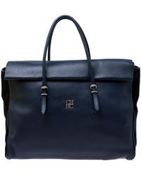 Carolina Herrera Navy Blue/black Leather Flap Satchel