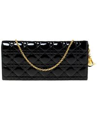 Dior Black Quilted Cannage Patent Leather Lady Chain Clutch