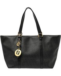 Fendi Fend Black Zucchino Coated Canvas And Leather Superstar Shopper Tote