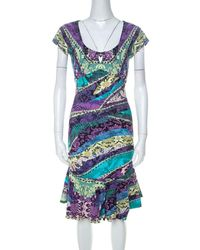 Roberto Cavalli Multicolour Printed Jersey Ruched Peplum Hem Detail Dress - Blue