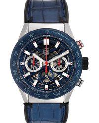 Tag Heuer Blue Stainless Steel Carrera Cbg2a1z Wristwatch 45 Mm