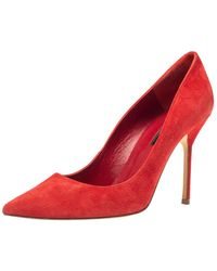 Carolina Herrera Red Suede Pointed Toe Court Shoes