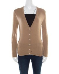Michael Kors - Brown Cashmere Cardigan S - Lyst