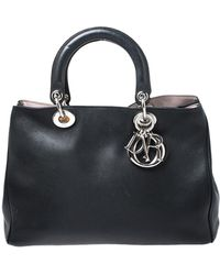 Dior Black Leather Medium Issimo Shopper Tote