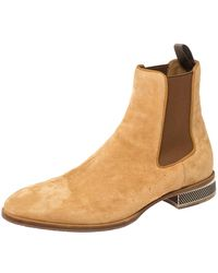 Christian Louboutin Beige Suede Chelsea Roadie Boots - Natural