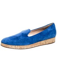 Gianvito Rossi Blue Suede Cork Platform Flat Loafers