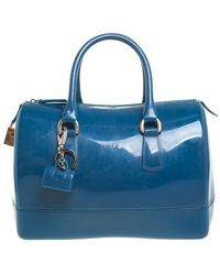 Furla Blue Rubber Candy Satchel With Charm