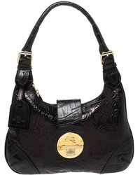Etro Black Paisley Embossed Leather Hobo