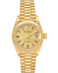 Rolex Champagne 18k Yellowgold President Datejust Linen 69178 Wristwatch 26mm - Metallic