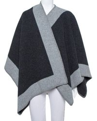 Burberry Black & Grey Wool Poncho (one