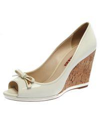 Prada S White Patent Leather Bow Peep Toe Cork Wedge Court Shoes