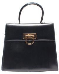 Ferragamo Black Leather Kelly Top Handle Bag