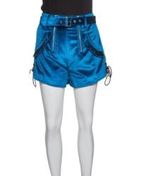 Self-Portrait Peacock Blue Velvet Lace-up Cuff Belted High Waist Shorts