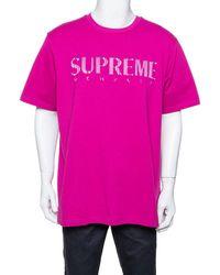Supreme Fuschia Pink Cotton Gradient Logo Embroidered T-shirt