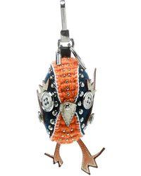 Burberry Derek The Bird Clementine Wool Embellished Key Ring / Bag Charm - Orange